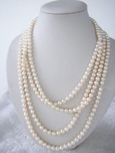 "Belle 7-8 mm blanc naturel Akoya Cultured Pearl Necklace 70/"""