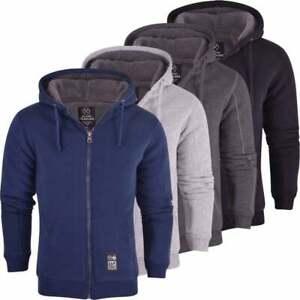 Mens-High-Quality-Padded-Borg-Fleece-Lined-Full-Zip-Up-Hoodie-Sweatshirt-Jacket