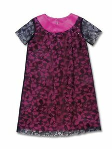 Girl CWD Kids Sequin Overlay Dress Pink Black Holiday Party Fancy 10/12
