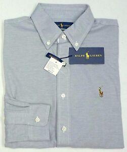 NWT-98-Polo-Ralph-Lauren-LS-Gray-KNIT-Oxford-Grey-Shirt-Mens-Cotton-NEW