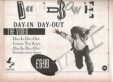 DAVID BOWIE Day In Day Out 1987 UK  Press ADVERT 12x8 inches