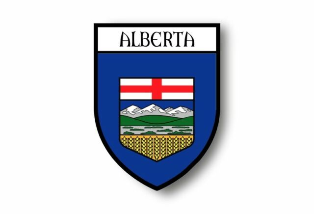 Sticker coat of arms flag car vinyl decal outdoor bumper shield alberta canada