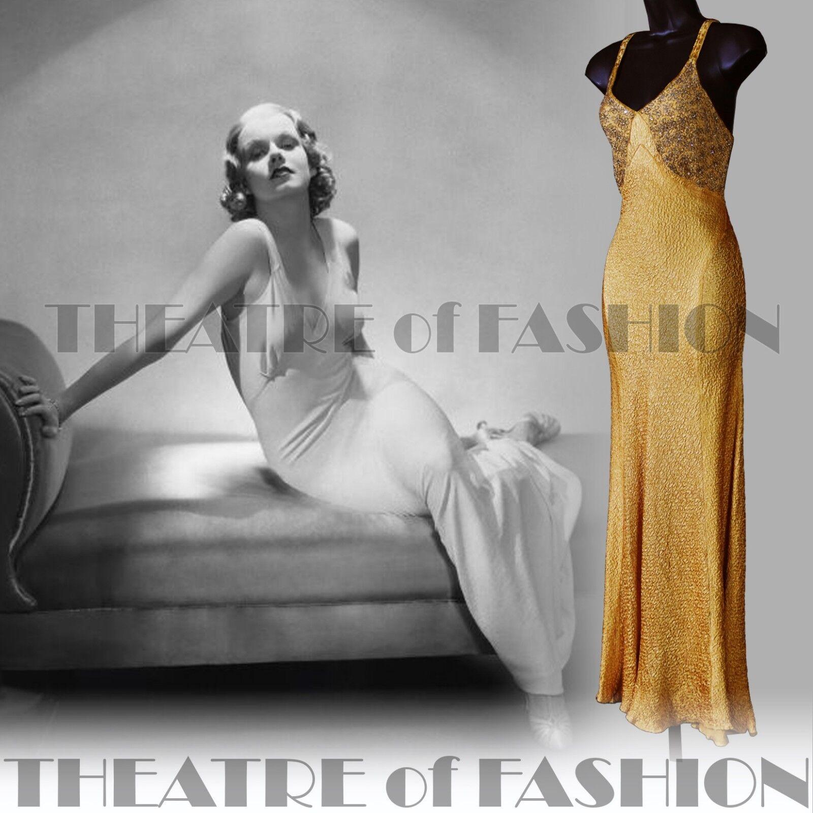 Abito 30s 20s VINTAGE SILK wedding perle di vetro oro in lamé Vamp DECO DEA RARO