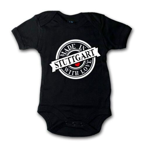 Größen Made in Stuttgart Baby Body Bodysuit 100/% Baumwolle Strampler 4 versch