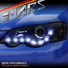 Black DRL LED Head Lights for Ford Falcon FPV BA BF Sedan Ute XR6 Turbo XR8 XR