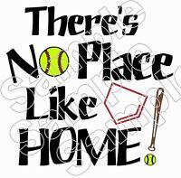 Softball No Place Like Home Iron On T Shirt Pillowcase Fabric Transfer