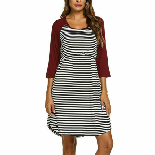 Womens Maternity Breastfeeding Dress Long Sleeve Striped Blouses Dresses Tops