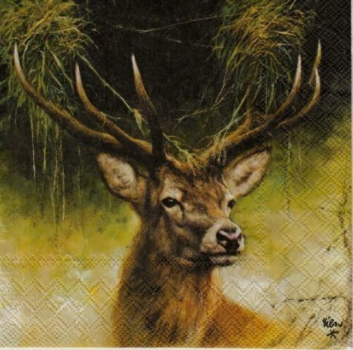 4 Lunch Paper Napkins for Decoupage Party Table Craft  Vintage Deer 3