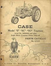 Case Vintage S Sc So Tractors Parts Manual 1960 A522