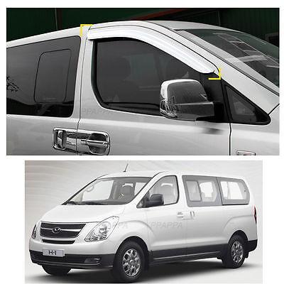 Chrome Window Visor Sun Guard Rain Shield For Hyundai H1//Grand Starex 2007~2016+