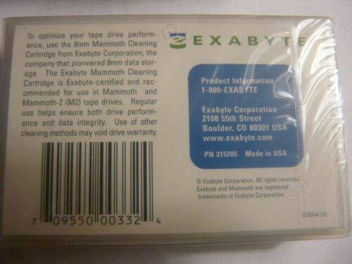 5 Exabyte Mammoth 8mm cleaning tape cartridges 315205 NEW factory sealed