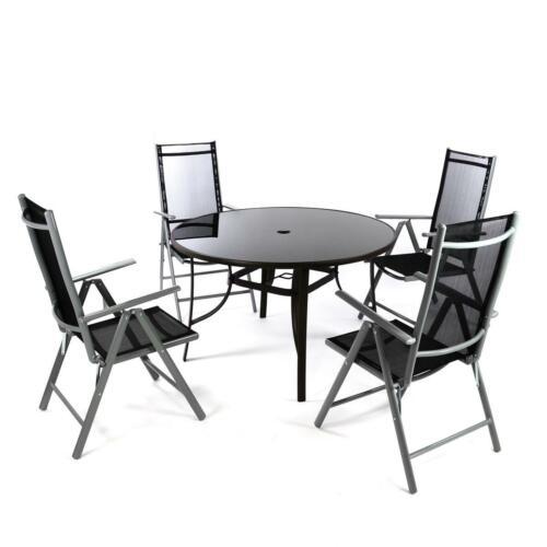 5er set gruppo di sedie con tavolo in vetro Sedia Pieghevole Nero Set da giardino mobili da giardino
