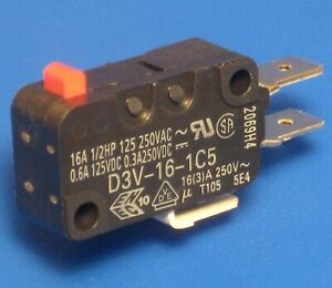 16Amp SPDT Microswitch ╍ 1.96N 200gf Pin Plunger ╍ D3V-16-1C5 without lever