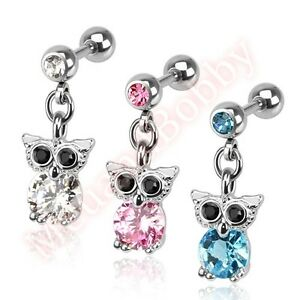 16G-CZ-Owl-Dangle-Cartilage-Tragus-Barbell-Ear-Ring-Body-Piercing-Jewellery