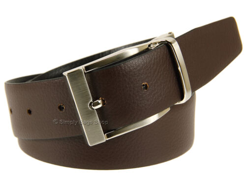 Primehide Mens Genuine Leather 34mm Width Reversible Belt With Metal Buckle