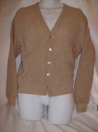 Vintage Jantzen Tan Cardigan Sweater Ken Venturi Golf Sweater Size M by Jantzen
