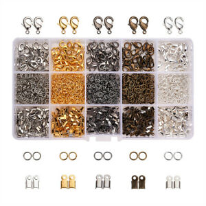 110Pcs Stainless Steel Cord Ends Caps Bead Loop Barrel Clasps for Jewelry Making