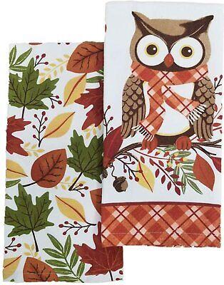 Harvest Owl Autumn Leaves Kitchen Towel Set Of 2 Ebay