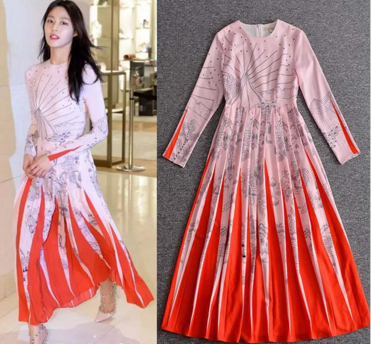 2018 Runway New  Hot Occident  personality fashion Retro printing Gradient Dress
