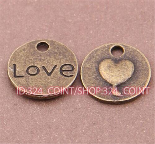 P547 15pc Antique Bronze love heart Pendant Bead Charms Accessories wholesale