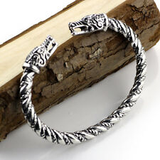 Viking Silver Dragon Bracelet Gothic Norse Celtic Pagan Odin  Torc Men Women