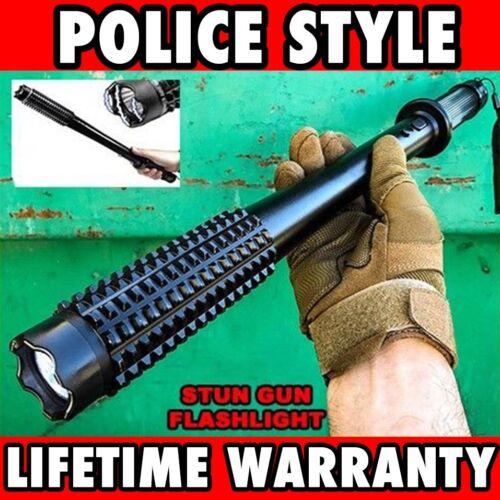 19 LONG Metal POLICE Stun Gun 350 Million Volt Rechargeable + LED Flashlight