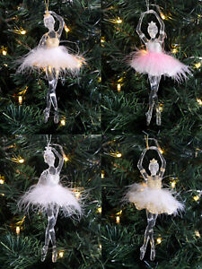 Gisela Grahma Ballerina Christmas Tree Decoration Hanging Gold  - Pink Feather Christmas Tree