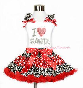 Christmas Dress Rhinestone Santa Claus Red L//s Shirt Green White Skirt Set 1-8y