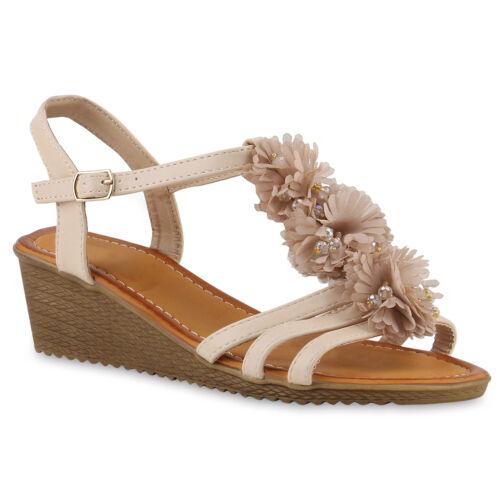 895180 Damen Keilsandaletten Blumen Schuhe Sandaletten Zierperlen Trendy