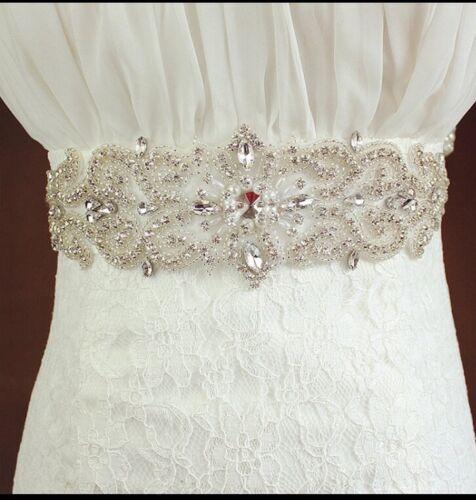 Bridal Wedding Rhinestone Crystal Pearl Diamante Sash Dress Plum Purple Belt