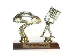VW Bug Car Trophy With Flagman- Race- Car- Heat- Winner- Driving- Free Lettering