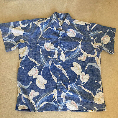 Vintage Men's Hawaiian Shirt by Royal Palm Reverse Print Floral Blue XL