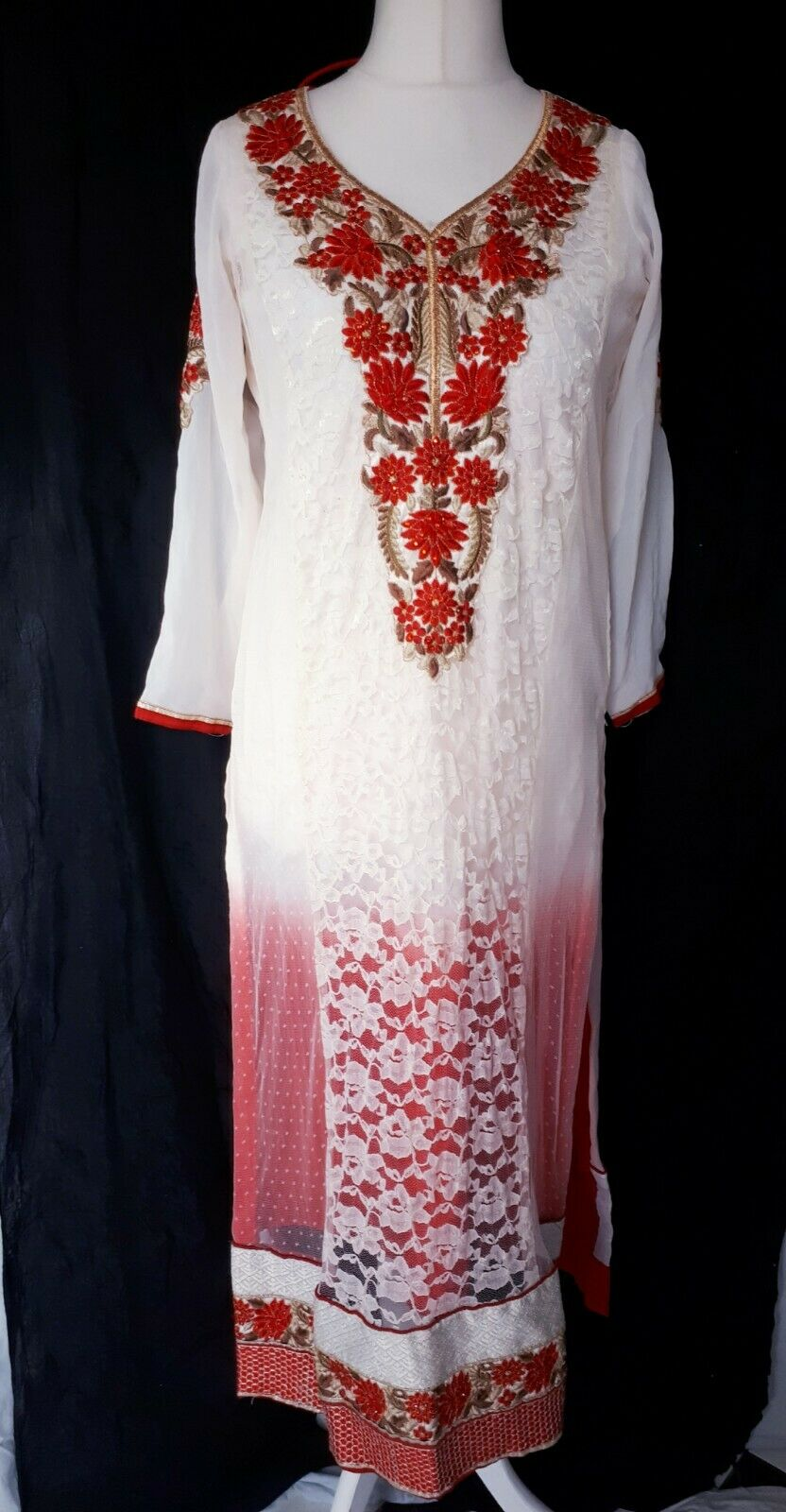 Indian Embroidery Bridal kameez Anarkali Gown Bolywood Dress Long Gown size S/M