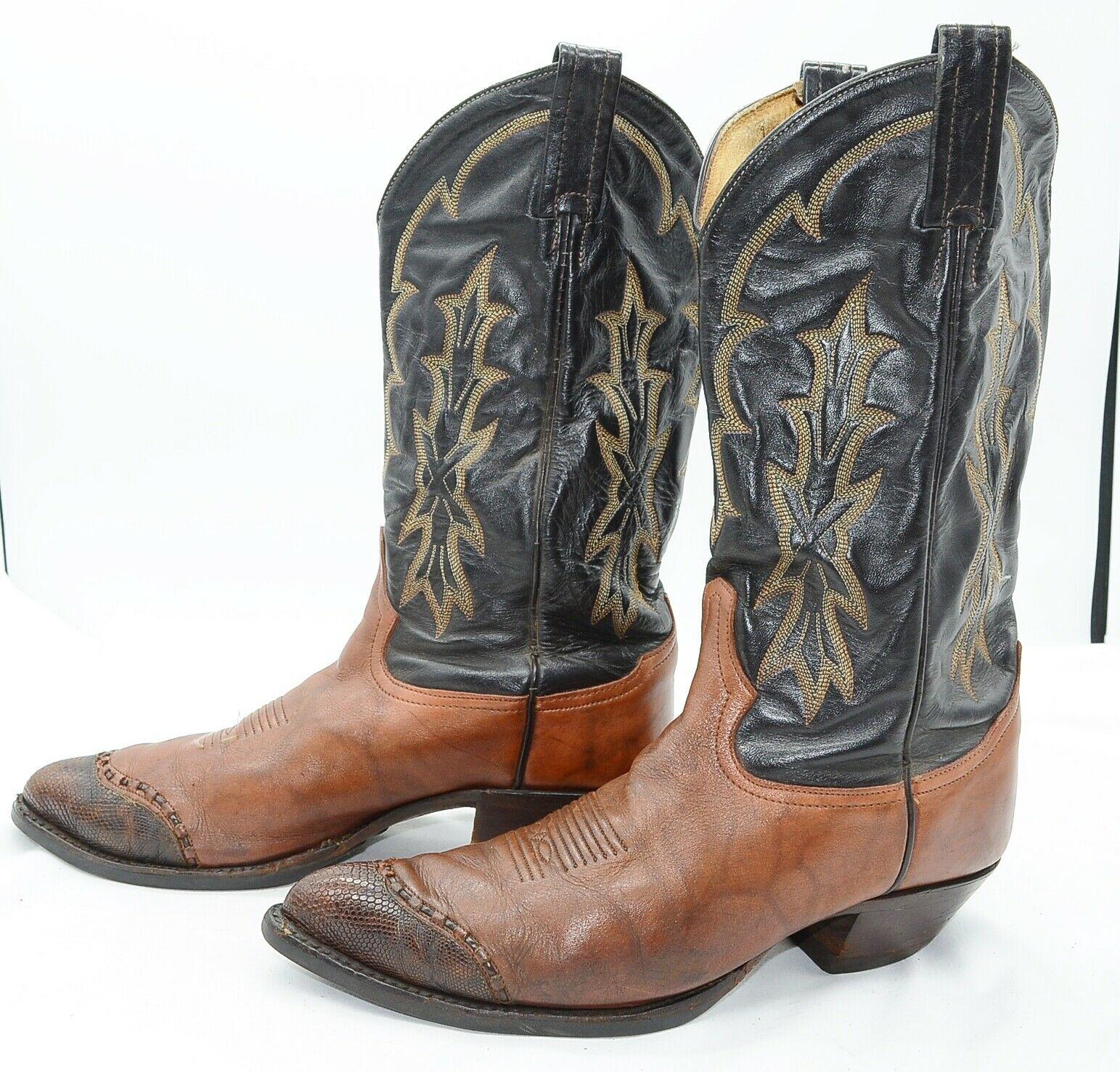 Tony Lama 6931 USA Cowboy Sz 9.5 2-Tone Leather Work Western Riding Biker Boots