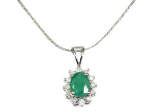 1-14ct-Emerald-amp-Diamond-Necklace-in-18K-amp-14K-White-Gold