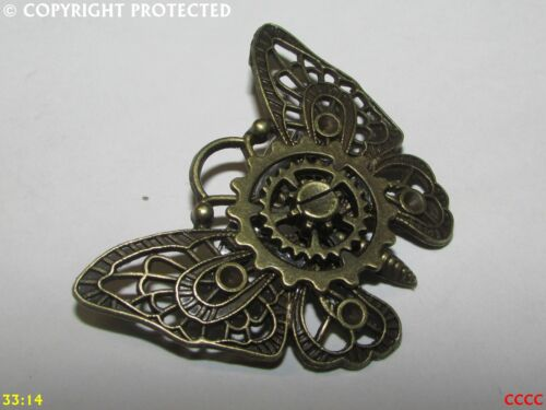 Steampunk broche insignia con Pin Bronce Mariposa Polilla COGS Rueda Dentada gótico joyas
