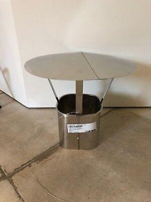 Regenhaube eckiger Einschub DN 160 mm Simo Regenschutz Schornstein Edelstahl Neu