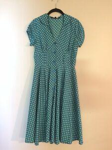 5f7bd3bd00 Mod Cloth Green And White Polka Dot Dress Size S NWOT   eBay