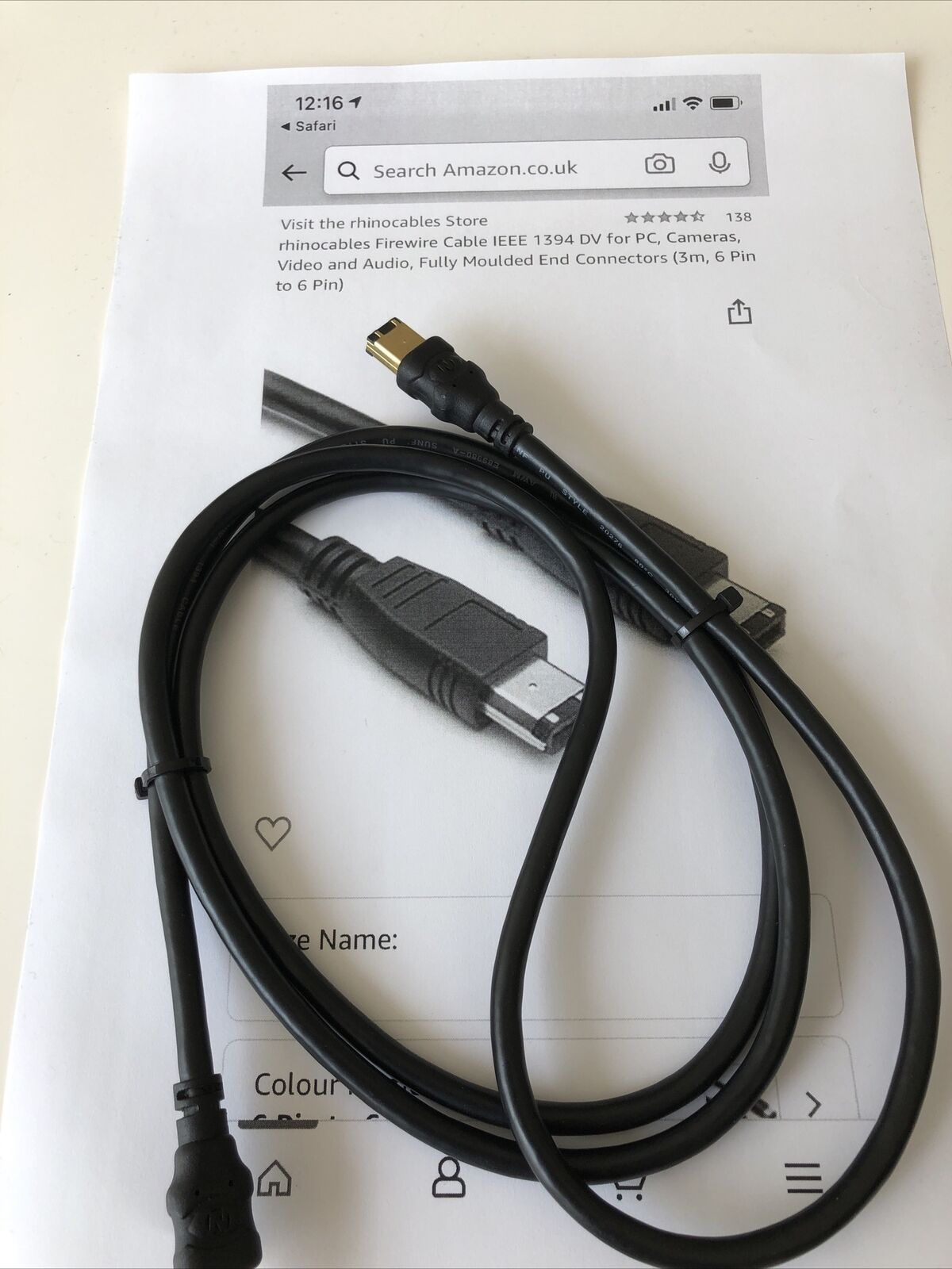 Rhinocables Firewire Cable IEEE 1394 DV for PC,Cameras,Video Audio