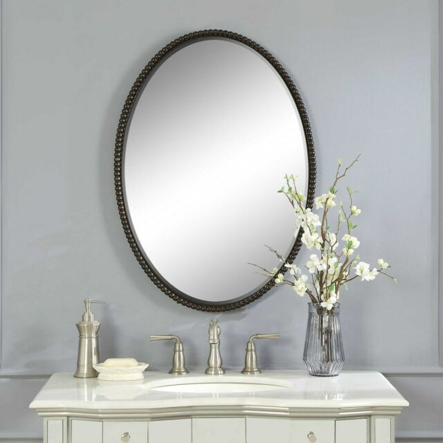 Oval Beaded Wall Mirror Bronze Beveled