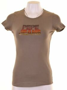 PEPE-Jeans-Damen-Graphic-T-Shirt-Top-Groesse-12-Medium-Khaki-Baumwolle-dn21