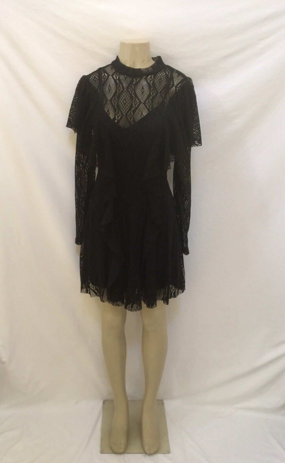 NWT Retail  Free People Sz Small schwarz Long Sleeves Lace See Through Dress