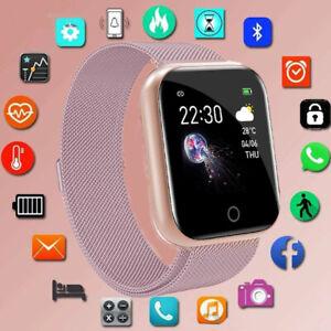Damen Bluetooth Smartwatch Schrittzähler Armbanduhr Fitness Tracker Rosa Sport