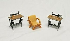Antique Doll House Furniture Wooden Chair Metal Sewing Machine Vintage Toys 1960 Ebay