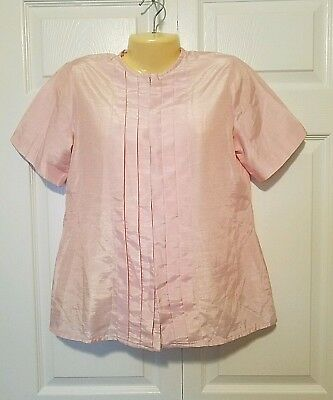 Damen Pfeil Retro Top Große 12 14 Rosa Falten Knöpfe Bluse Hemd Vintage üPpiges Design