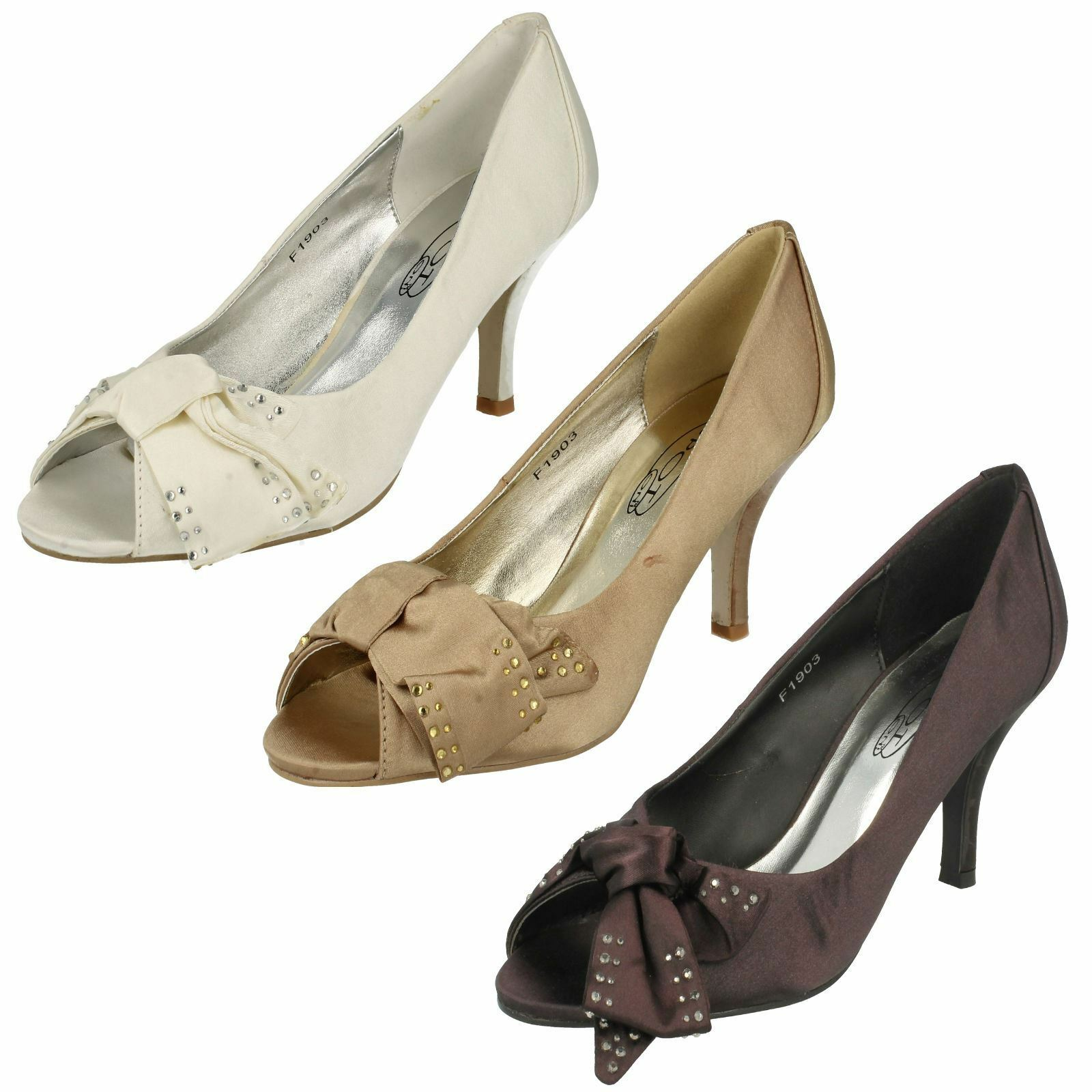 Moda jest prosta i niedroga Spot On Ladies Open Toe Court Shoe With Diamante Bow Detail