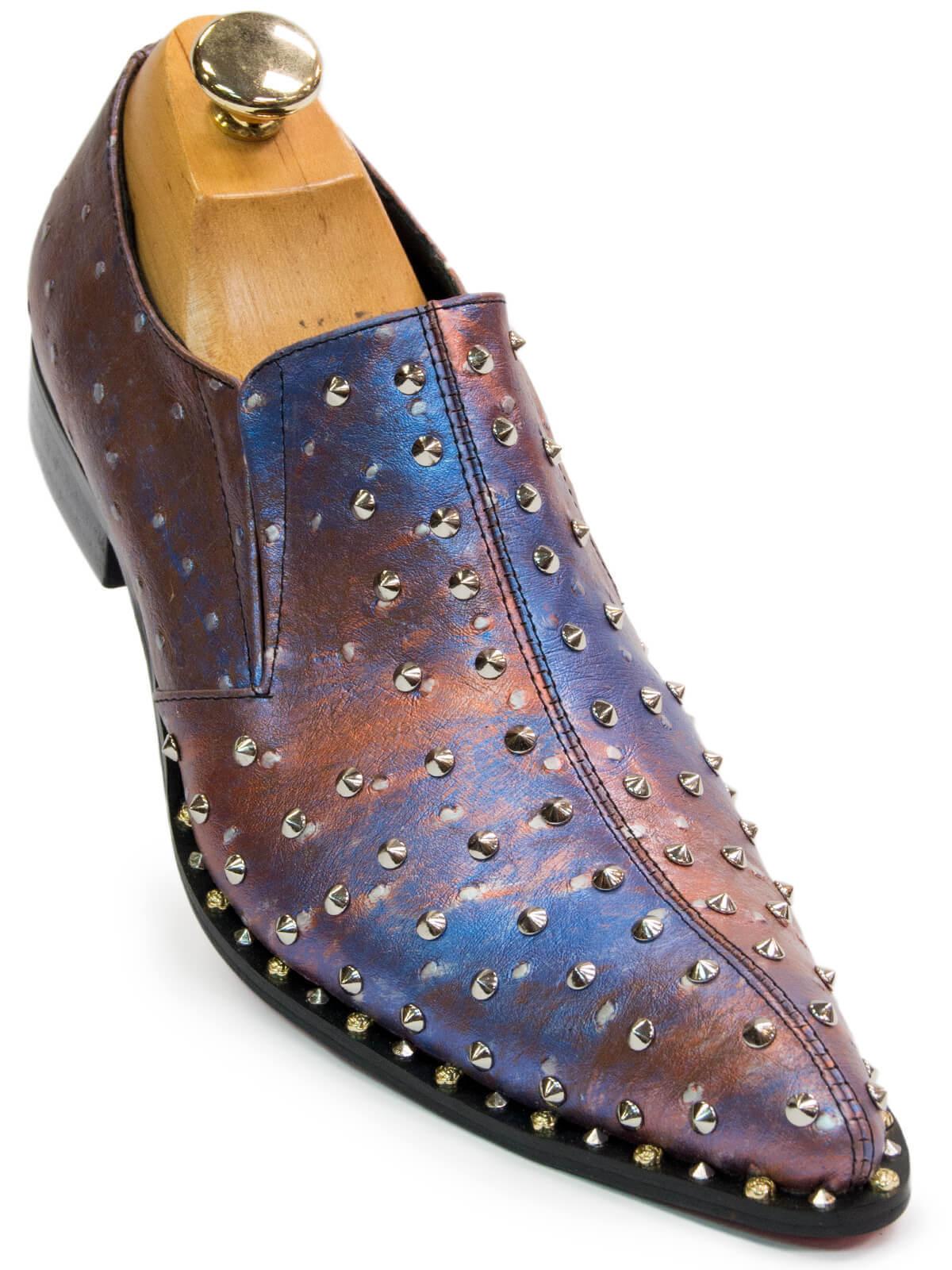 Fiesso Hombre Azul púrpura MultiColor Metal Cuero Studd Punta Zapatos sin Cordones