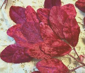 Vintage-Millinery-1940s-Velvet-Leaves-1-Spray-Made-in-Japan-Cherry-Red