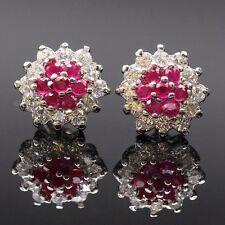 Unique Pretty Flower Ruby Zircon Stud Earrings 18K White Gold Plated Earrings