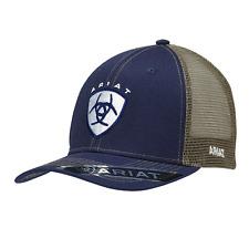 Ariat Mens Hat Baseball Cap Mesh Back Snap Shield Logo Navy Blue 1595303